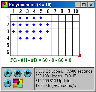 Polyominoes 6x10 With Limited Squares